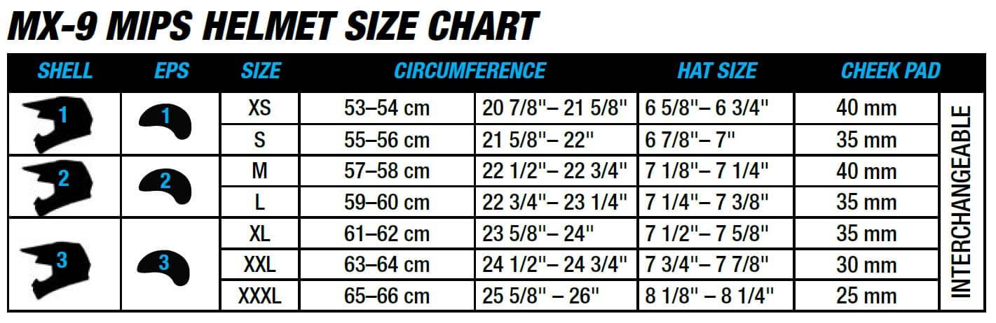 Bell Helmets MX-9 size chart