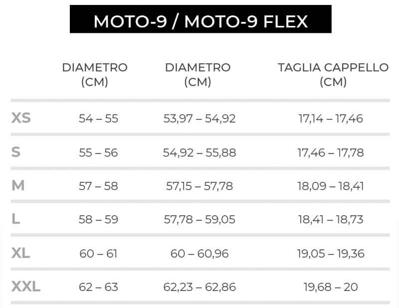 Bell Helmets Moto 9 Size Chart