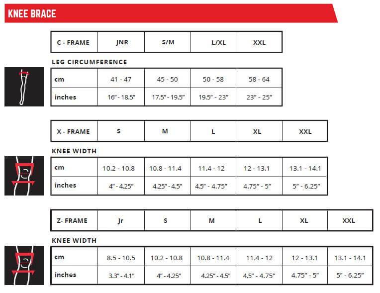 LEATT Size Chart Knee Brace