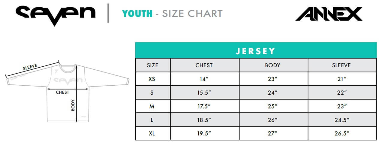 SEVEN YOUTH Annex JERSEY Size Chart