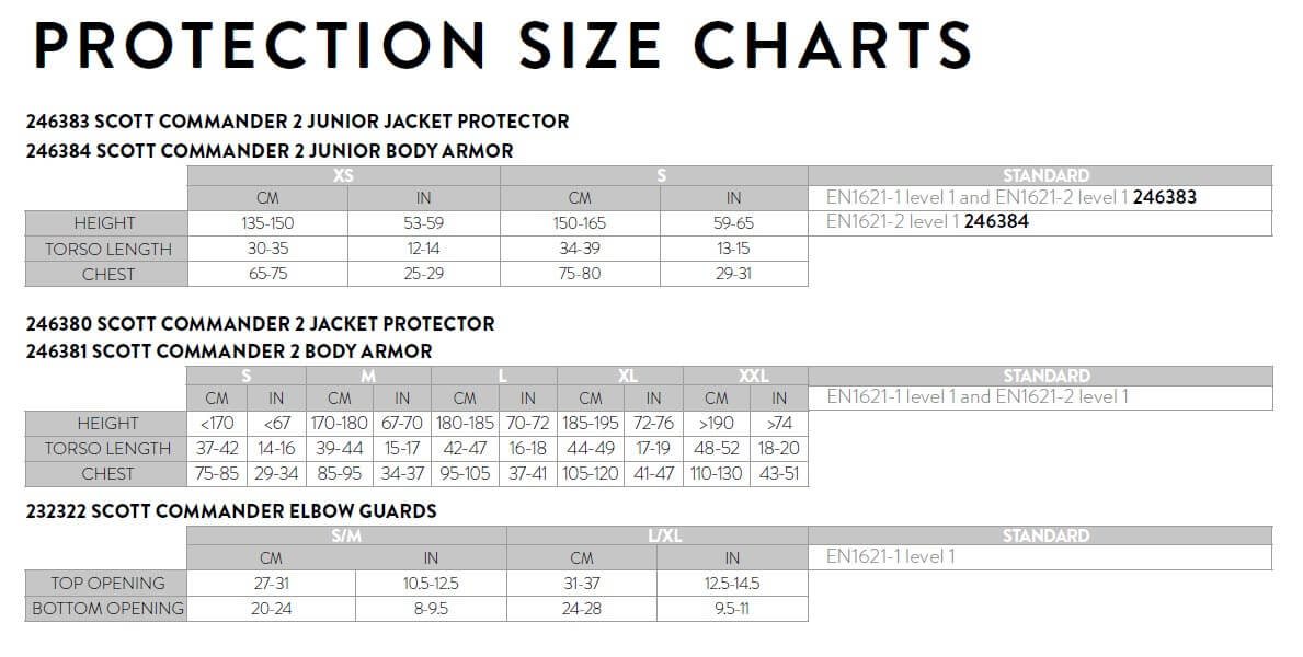 Scott Protection COMMANDER Size