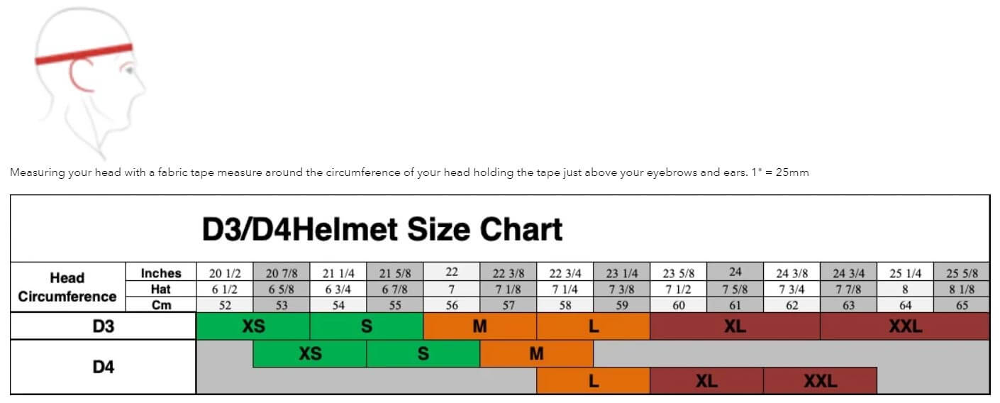 Size Chart Troy Lee Designs D4 D3 MTB
