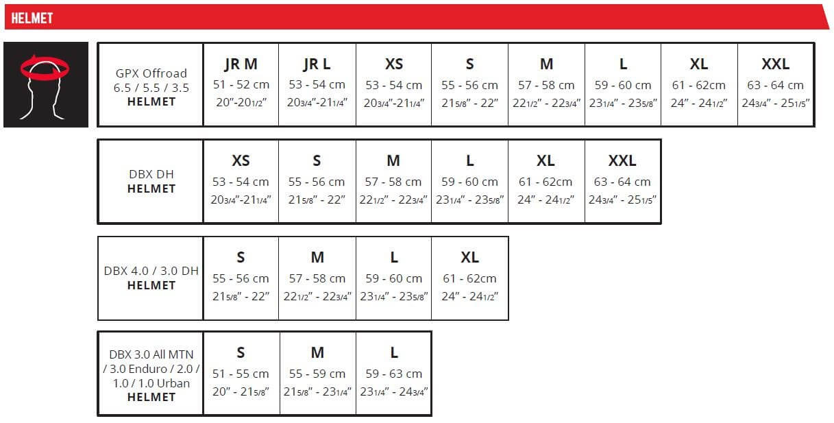 Leatt Size Chart MTB Helmets