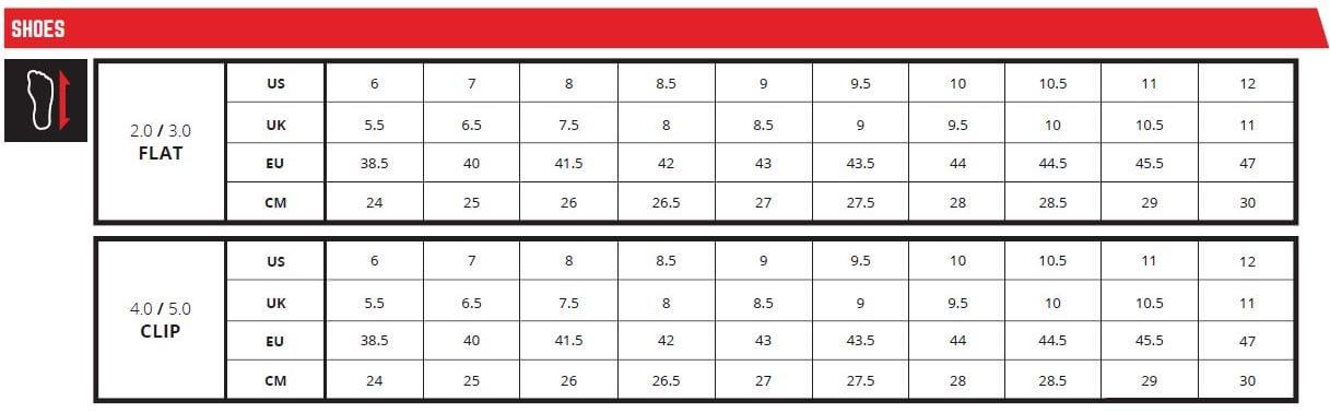 Leatt Size chart MTB shoes