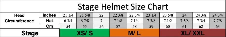 TLD MTB Stage Helmets Size Chart